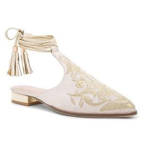 RAYE Kate Embroidered Ankle Wrap Mule NW Size 7.5